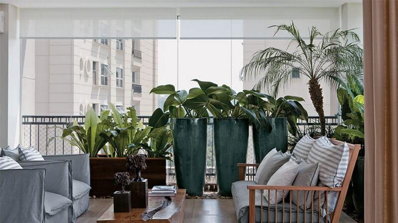 Plantas na varanda do apartamento